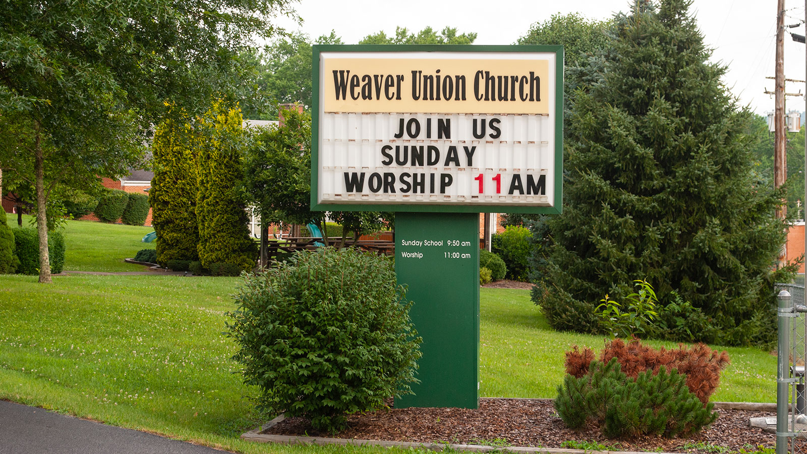 Weaver Union Church Road Sign Worship